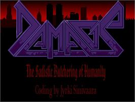Title screen of Damage: The Sadistic Butchering of Humanity on the Commodore Amiga.