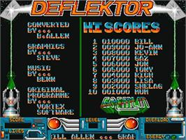 Title screen of Deflektor on the Commodore Amiga.