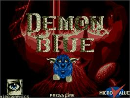 Title screen of Demon Blue on the Commodore Amiga.