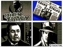Title screen of Dick Tracy: The Crime-Solving Adventure on the Commodore Amiga.