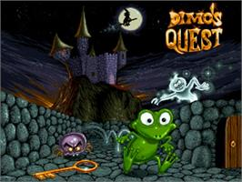 Title screen of Dimo's Quest on the Commodore Amiga.