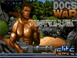 Title screen of Dogs of War on the Commodore Amiga.