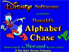 Title screen of Donald's Alphabet Chase on the Commodore Amiga.
