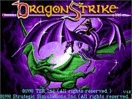 Title screen of Dragon Strike on the Commodore Amiga.