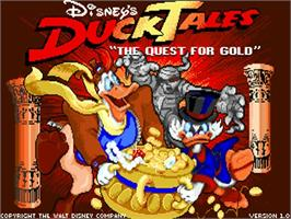 Title screen of Duck Tales: The Quest for Gold on the Commodore Amiga.