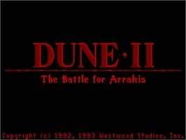 Title screen of Dune 2 on the Commodore Amiga.