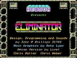 Title screen of Eliminator on the Commodore Amiga.