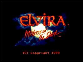 Title screen of Elvira: Mistress of the Dark on the Commodore Amiga.