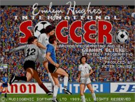 Title screen of Emlyn Hughes International Soccer on the Commodore Amiga.