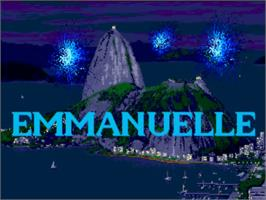 Title screen of Emmanuelle: A Game of Eroticism on the Commodore Amiga.