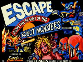 Title screen of Escape from the Planet of the Robot Monsters on the Commodore Amiga.