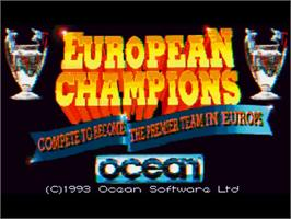 Title screen of European Champions on the Commodore Amiga.