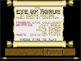 Title screen of Eye of Horus on the Commodore Amiga.