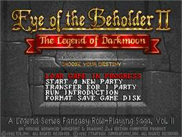 Title screen of Eye of the Beholder II: The Legend of Darkmoon on the Commodore Amiga.