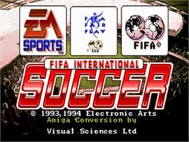 Title screen of FIFA International Soccer on the Commodore Amiga.