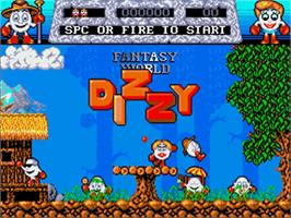 Title screen of Fantasy World Dizzy on the Commodore Amiga.
