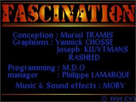 Title screen of Fascination on the Commodore Amiga.
