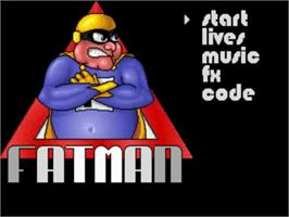 Title screen of Fatman: The Caped Consumer on the Commodore Amiga.