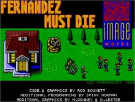 Title screen of Fernandez Must Die on the Commodore Amiga.