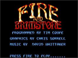 Title screen of Fire and Brimstone on the Commodore Amiga.