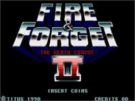 Title screen of Fire and Forget 2: The Death Convoy on the Commodore Amiga.