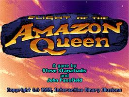 Title screen of Flight of the Amazon Queen on the Commodore Amiga.