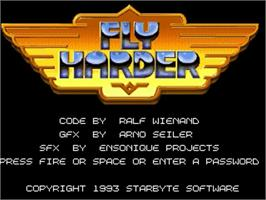 Title screen of Fly Harder on the Commodore Amiga.
