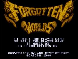 Title screen of Forgotten Worlds on the Commodore Amiga.