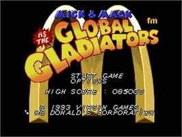 Title screen of Global Gladiators on the Commodore Amiga.