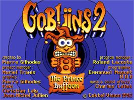 Title screen of Gobliins 2: The Prince Buffoon on the Commodore Amiga.