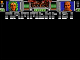 Title screen of Hammerfist on the Commodore Amiga.