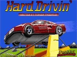 Title screen of Hard Drivin' on the Commodore Amiga.