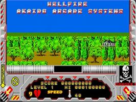 Title screen of Hellfire Attack on the Commodore Amiga.