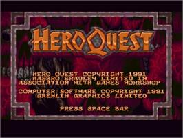 Title screen of Hero Quest on the Commodore Amiga.