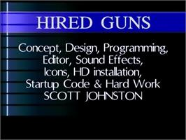 Title screen of Hired Guns on the Commodore Amiga.