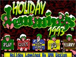 Title screen of Holiday Lemmings on the Commodore Amiga.
