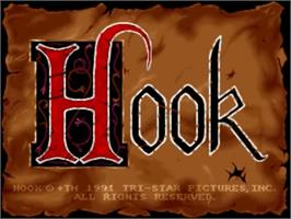 Title screen of Hook on the Commodore Amiga.