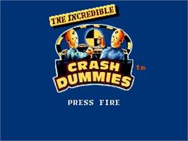 Title screen of Incredible Crash Dummies on the Commodore Amiga.
