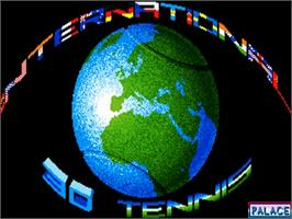 Title screen of International 3D Tennis on the Commodore Amiga.