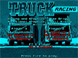 Title screen of International Truck Racing on the Commodore Amiga.