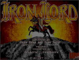 Title screen of Iron Lord on the Commodore Amiga.