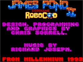 Title screen of James Pond 2: Codename: RoboCod on the Commodore Amiga.