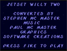 Title screen of Jet Set Willy 2 on the Commodore Amiga.