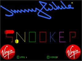 Title screen of Jimmy White's Whirlwind Snooker on the Commodore Amiga.