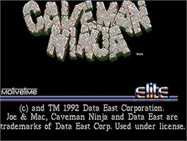 Title screen of Joe & Mac: Caveman Ninja on the Commodore Amiga.