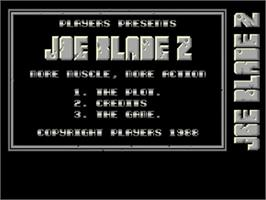 Title screen of Joe Blade 2 on the Commodore Amiga.
