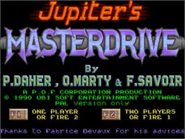 Title screen of Jupiter's Masterdrive on the Commodore Amiga.
