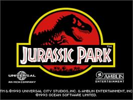 Title screen of Jurassic Park on the Commodore Amiga.