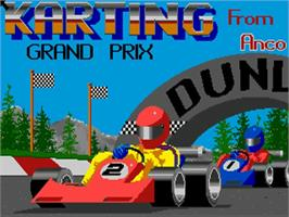 Title screen of Karting Grand Prix on the Commodore Amiga.