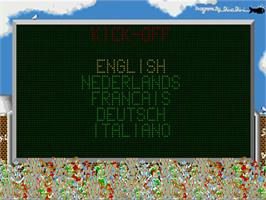 Title screen of Kick Off: Extra Time on the Commodore Amiga.